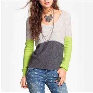 Free People Beach Colorblock Cashmere Sweater